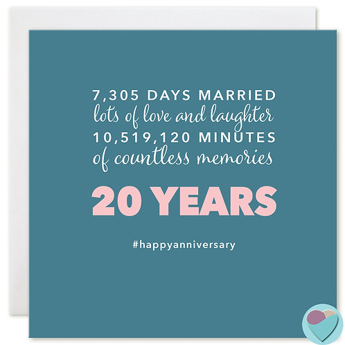 Wedding Anniversary Card 20 Years 7,305 DAYS MARRIED
