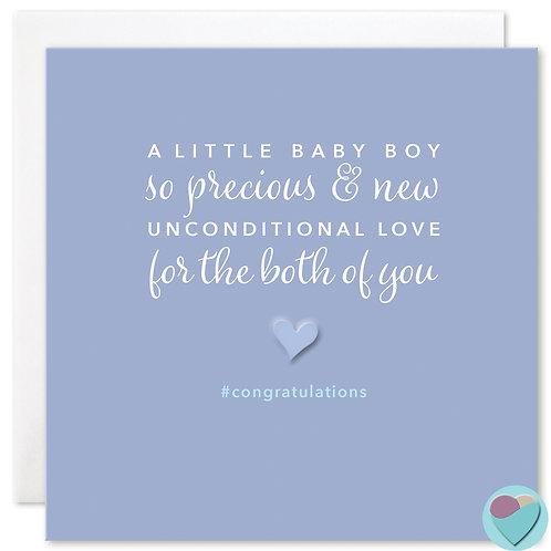 New Baby Boy Congratulations Card 'A LITTLE BABY BOY'