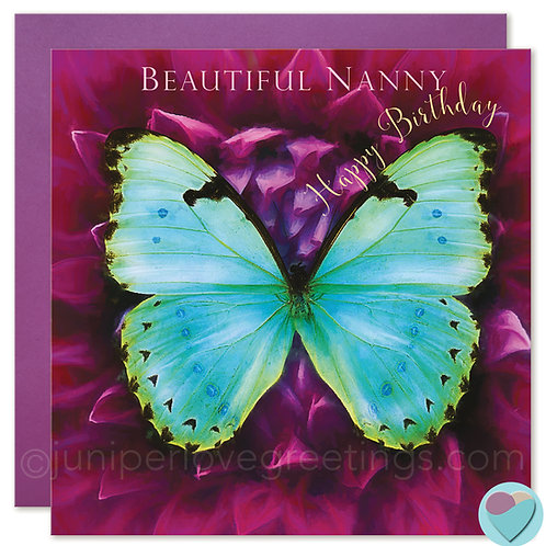 Nanny Birthday Card Butterfly 'BEAUTIFUL NANNY Happy Birthday'