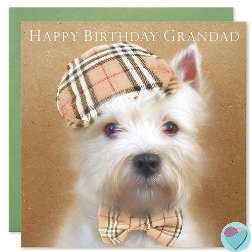 Grandad Birthday Card Westie Lover 'HAPPY BIRTHDAY GRANDAD'