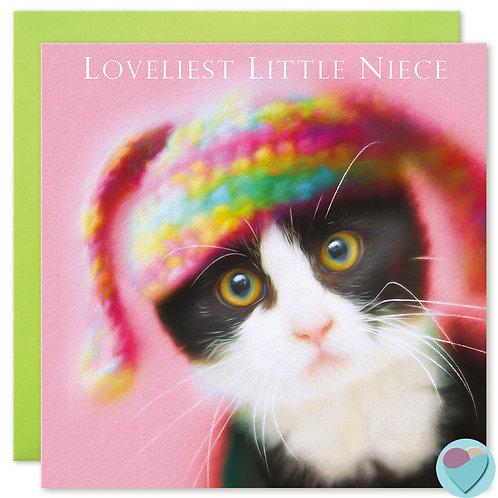Niece Greeting Card - 'LOVELIEST LITTLE NIECE' Tuxedo Kitten