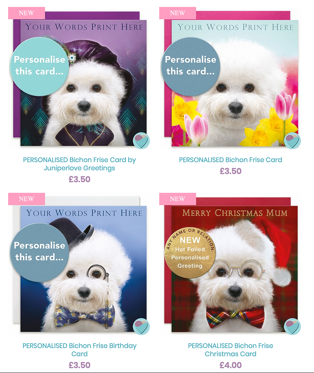 Bichon Frise Birthday Cards by Juniperlove Greetings