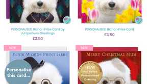 Personalised Bichon Frise Cards for birthdays or any occasion.