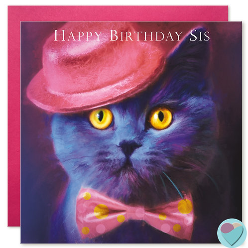 British Blue Cat Card 'HAPPY BIRTHDAY SIS'