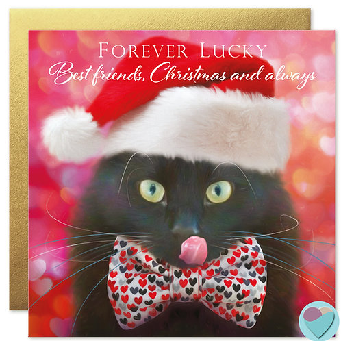 Black Cat Christmas Card 'FOREVER LUCKY Best Friends, Christmas and always!