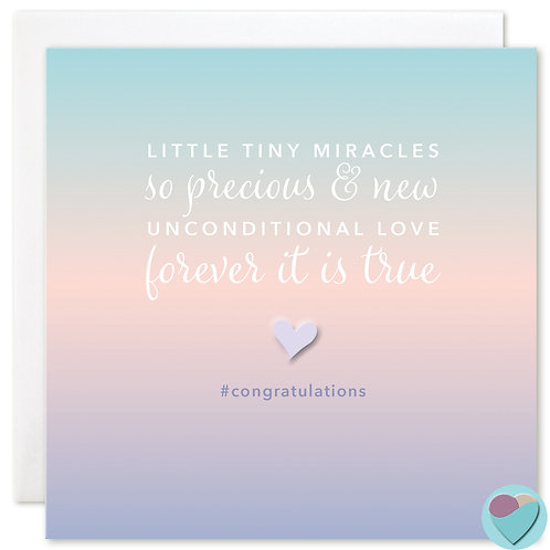New Baby Congratulations Card Twins 'LITTLE TINY MIRACLES'