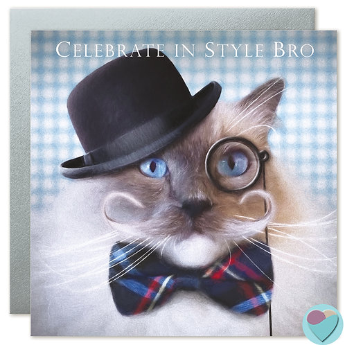 Ragdoll Cat Brother Card 'CELEBRATE IN STYLE BRO'