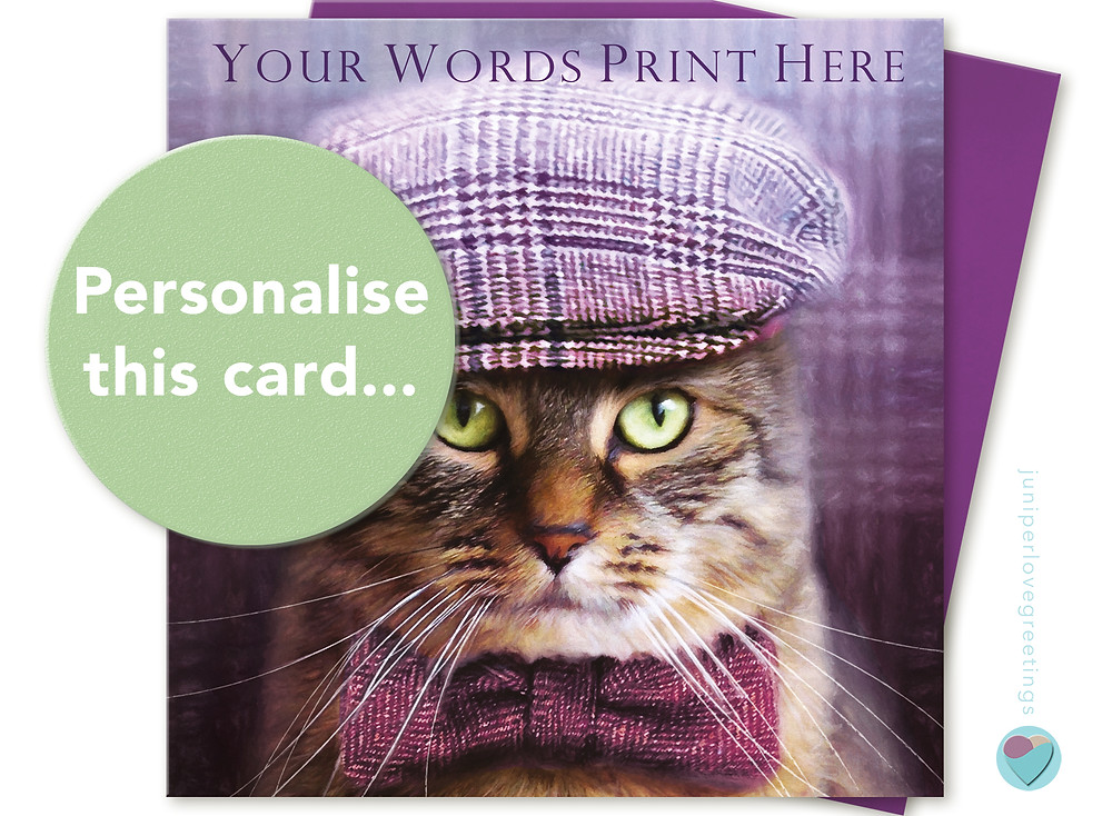 Greeting card with a picture of a tabby cat on wearing a flat cap and bow tie
