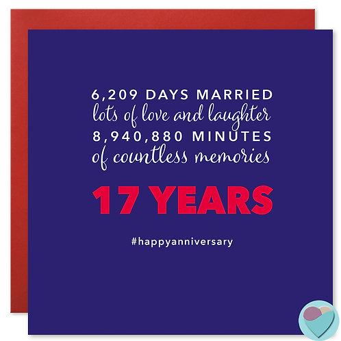 Wedding Anniversary Card 17 Years 6,209 DAYS MARRIED