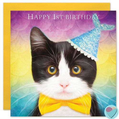 1st Birthday Kitten Card - 'HAPPY 1st BIRTHDAY'