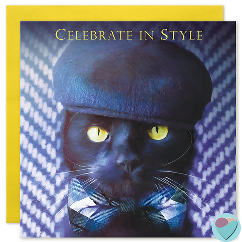 Black Cat Birthday Card 'CELEBRATE IN STYLE'