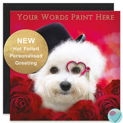PERSONALISED Bichon Frise Valentine's Card