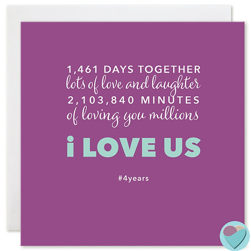 Anniversary Card 4 Years '1,461 DAYS TOGETHER'