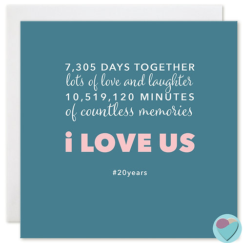 Anniversary Card 20 Years 7,305 DAYS TOGETHER