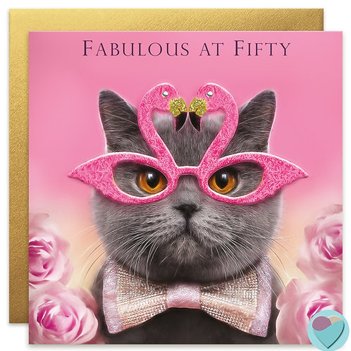 50th Birthday Card for her 'FABULOUS AT FIFTY'