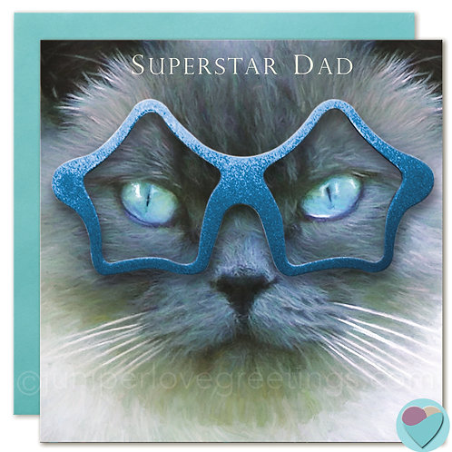 British Blue Cat Birthday Card