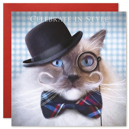 Ragdoll Cat Card 'CELEBRATE IN STYLE'