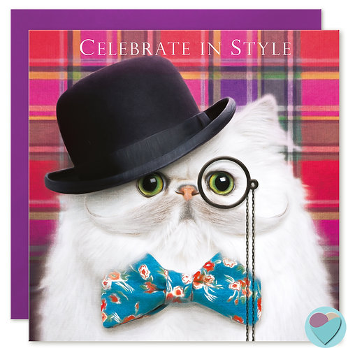 Persian Cat Birthday Card 'CELEBRATE IN STYLE'