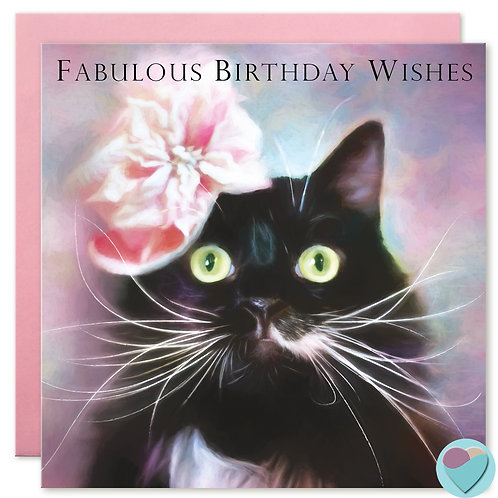 Cat Birthday Card - 'FABULOUS BIRTHDAY WISHES'