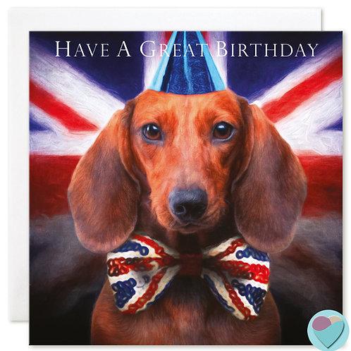 Dachshund Birthday Card 'HAVE A GREAT BIRTHDAY'