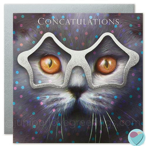 British Shorthair Cat Card Congratulations 'CONCATULATIONS'
