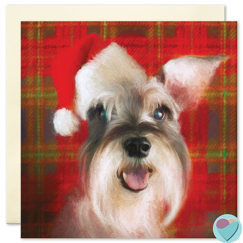 Schnauzer Christmas Card BLANK Art Card - Looks great in a frame!!