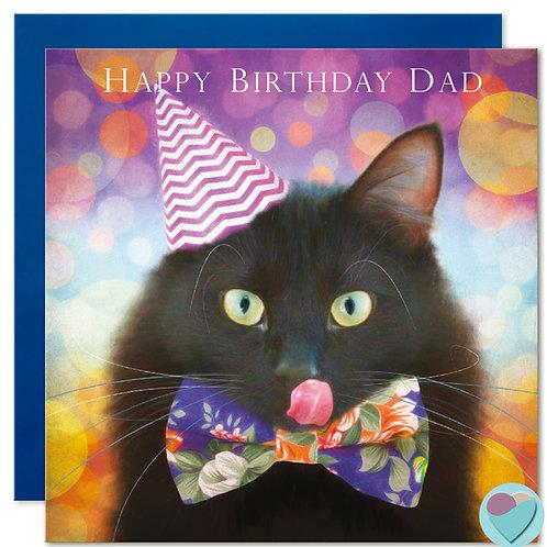 Black Cat Birthday Card Dad 'HAPPY BIRTHDAY DAD'