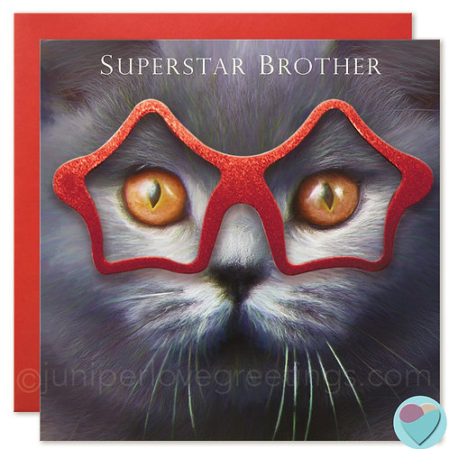 Brother Birthday Card British Shorthair Cat 'SUPERSTAR BROTHER'