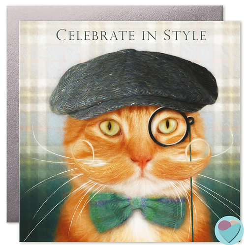 Ginger Cat Birthday Card 'CELEBRATE IN STYLE'
