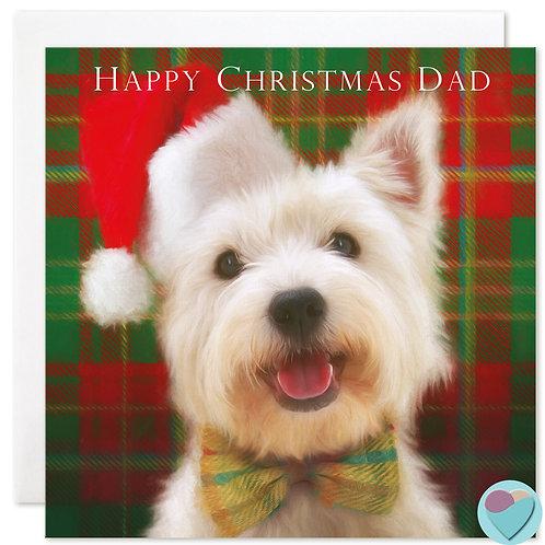 Westie Dad Christmas Card 'HAPPY CHRISTMAS DAD'