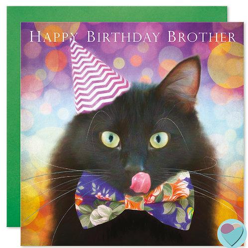 Black Cat Birthday Card Brother 'HAPPY BIRTHDAY BROTHER'