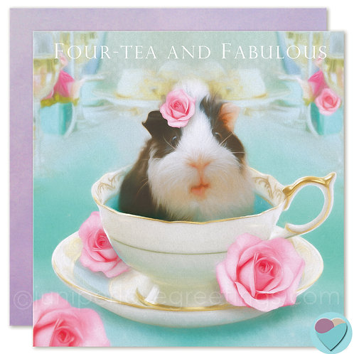40th Birthday Card Guinea Pig in Tea Cup 'FOUR-TEA AND FABULOUS'