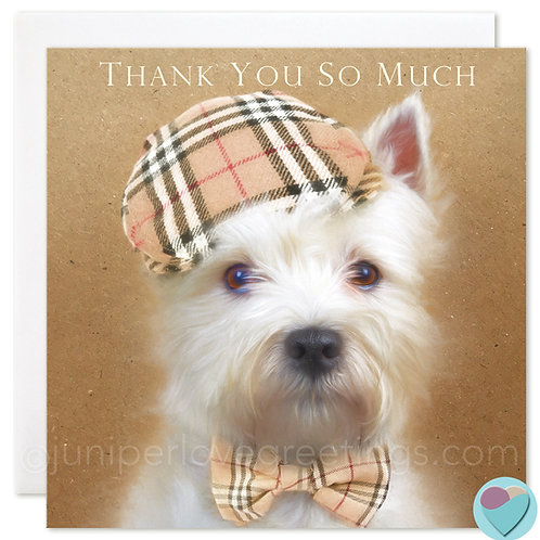 Thank You Card West Highland Terrier UK 'THANK YOU SO MUCH'