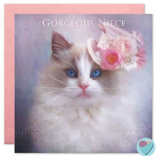 Ragdoll Cat Birthday Card Niece Card 'GORGEOUS NIECE'