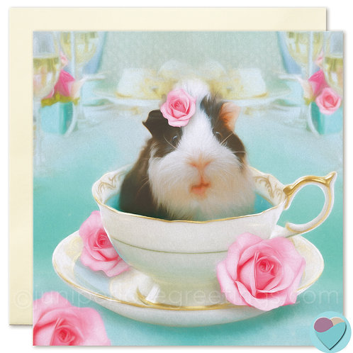 Guinea Pig in Tea Cup BLANK Card 'Ideal to put in a frame!'