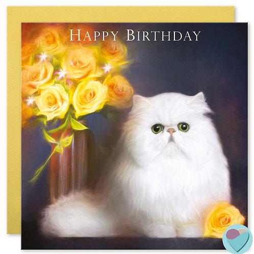 Persian Cat Birthday Card 'HAPPY BIRTHDAY'