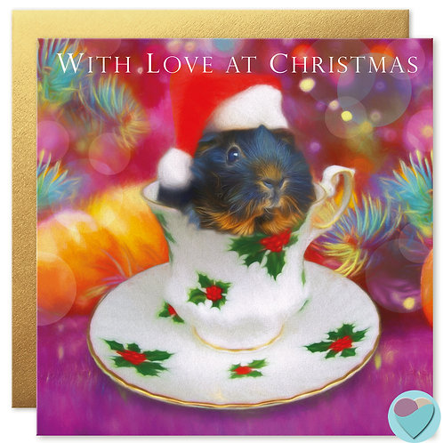 Guinea Pig Christmas Cards 'WITH LOVE AT CHRISTMAS'
