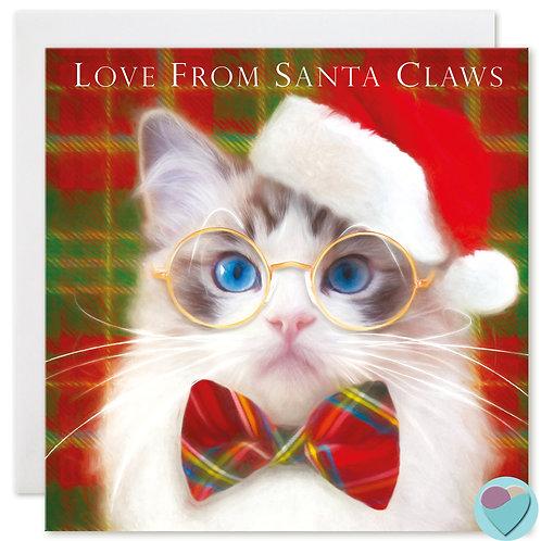 Ragdoll Cat Christmas Card 'LOVE FROM SANTA CLAWS'