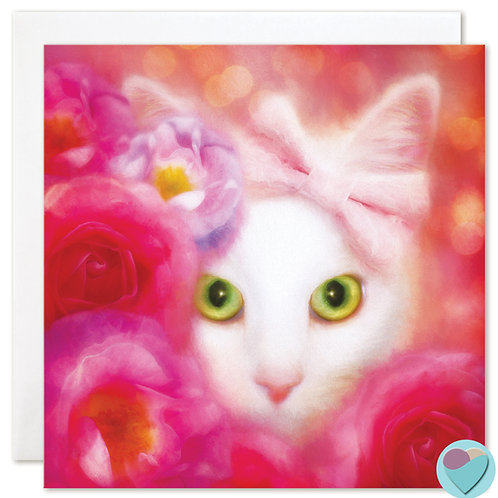 White Cat Card BLANK Pet Portrait