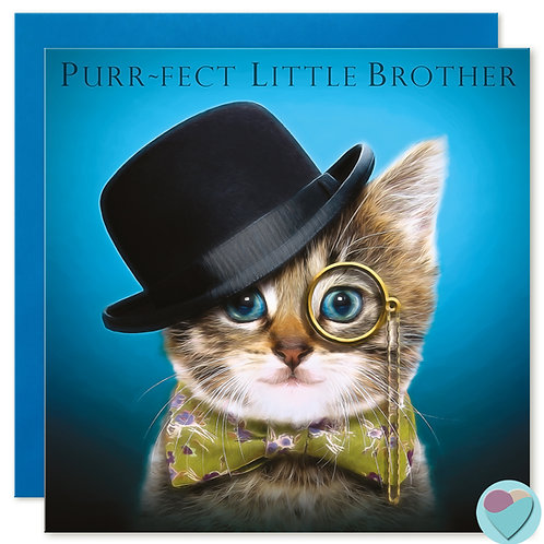 Little Brother Birthday Card 'PURR-FECT LITTLE BROTHER'