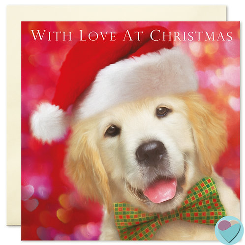 Golden Retriever Puppy Christmas Card 'WITH LOVE AT CHRISTMAS'