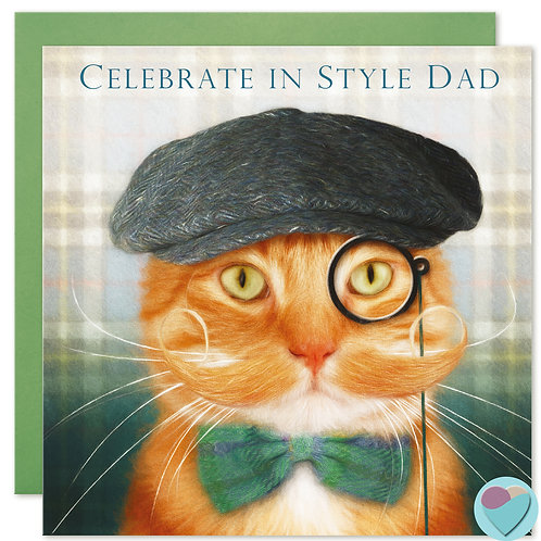 Ginger Cat Dad Birthday Card 'CELEBRATE IN STYLE DAD'