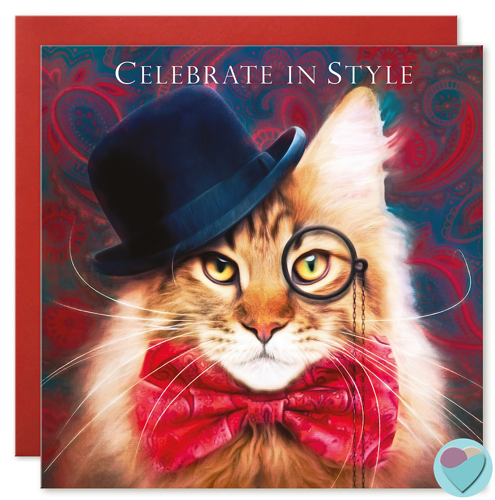 maine Coon cat wearing bowler hat, bow tie and monocle a great cat card for any occasion Celebrate in Style