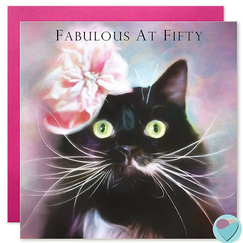 50th Birthday Card - 'FABULOUS AT FIFTY'