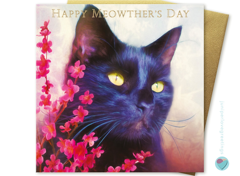 Mother's Day card with close up of a black cats face on the front with red flowers