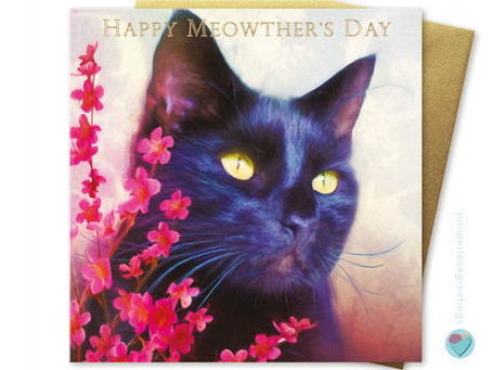 Black Cat Mother's Day Card by Juniperlove Greetings