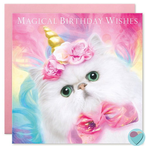 Persian Cat Birthday Card 'MAGICAL BIRTHDAY WISHES'