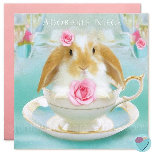 Niece Bunny Birthday Card Dwarf Lop 'ADORABLE NIECE'