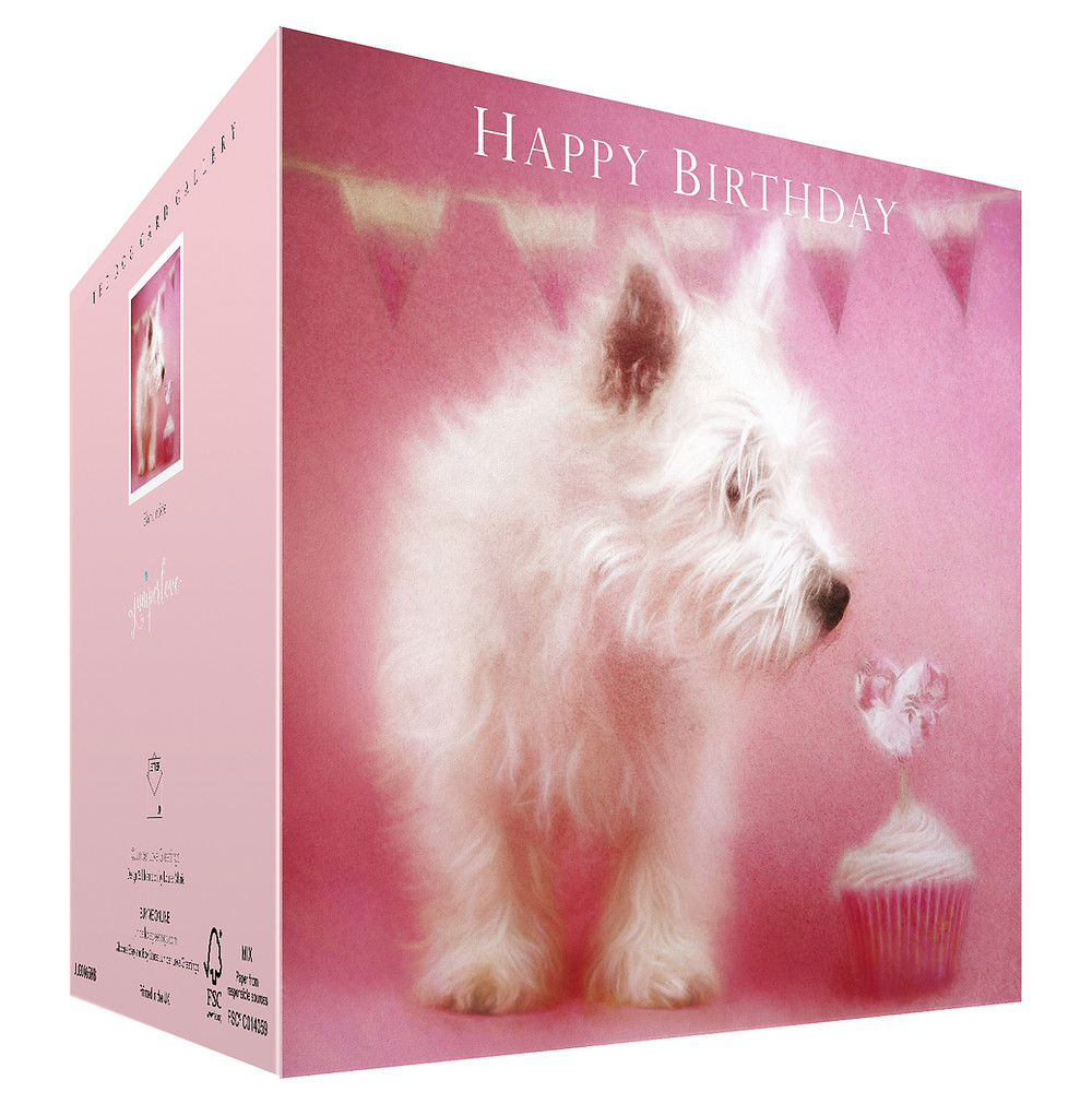 birthday card for Westie lovers featuring a Westie looking at a pink cup cake with a heart on it.
