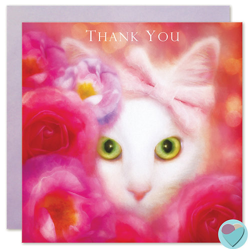 White Cat Thank You Card
